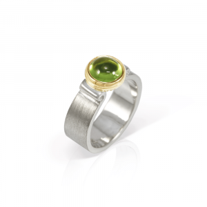 Peridot Greek Scroll Ring in silver with yellow gold setting by Scarab Jewellery Studio