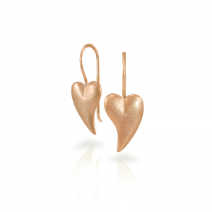 A pair of Bewitched rose gold heart earrings by Scarab Jewellery Studio - online jewellery