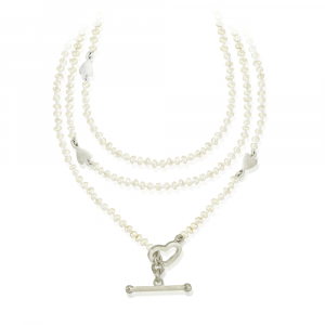 Seed Pearl Wrap Necklace with Silver Hearts and fob by Scarab Jewellery Studio