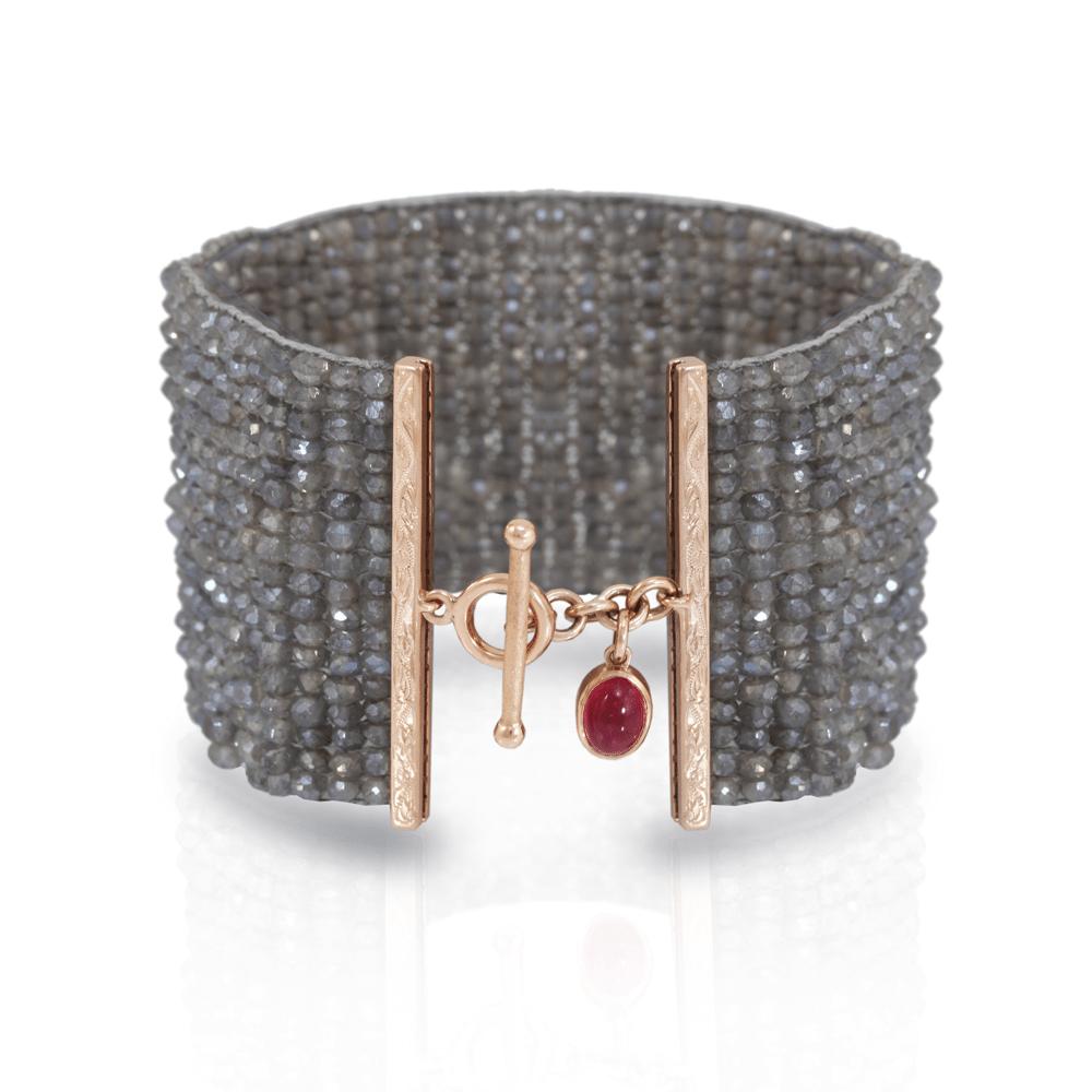 Labradorite woven cuff bracelet - woven labradorite bracelet cuff - with rose gold and pink tourmaline