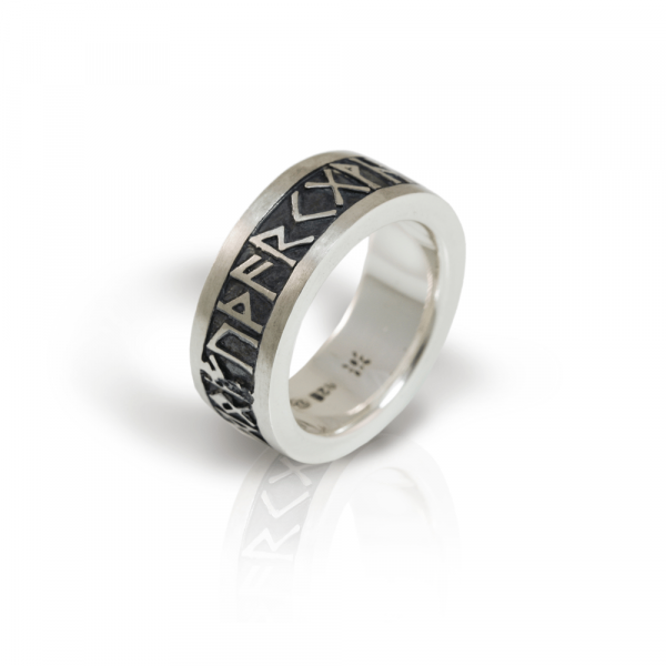 Rune Band in solid silver with oxidized relief by Scarab Jewellery Studio