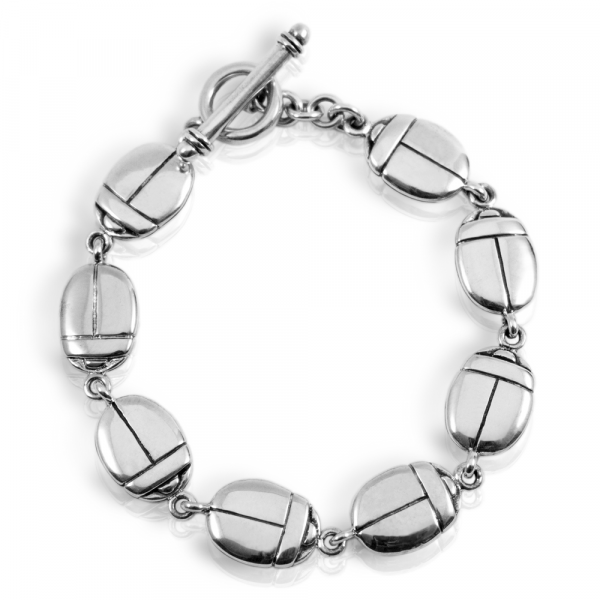 stylised silver egyptian scarab bracelet by Scarab Jewellery Studio