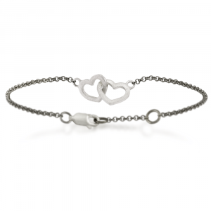 solid silver linked hearts bracelet with integrated blackened silver belcher chain
