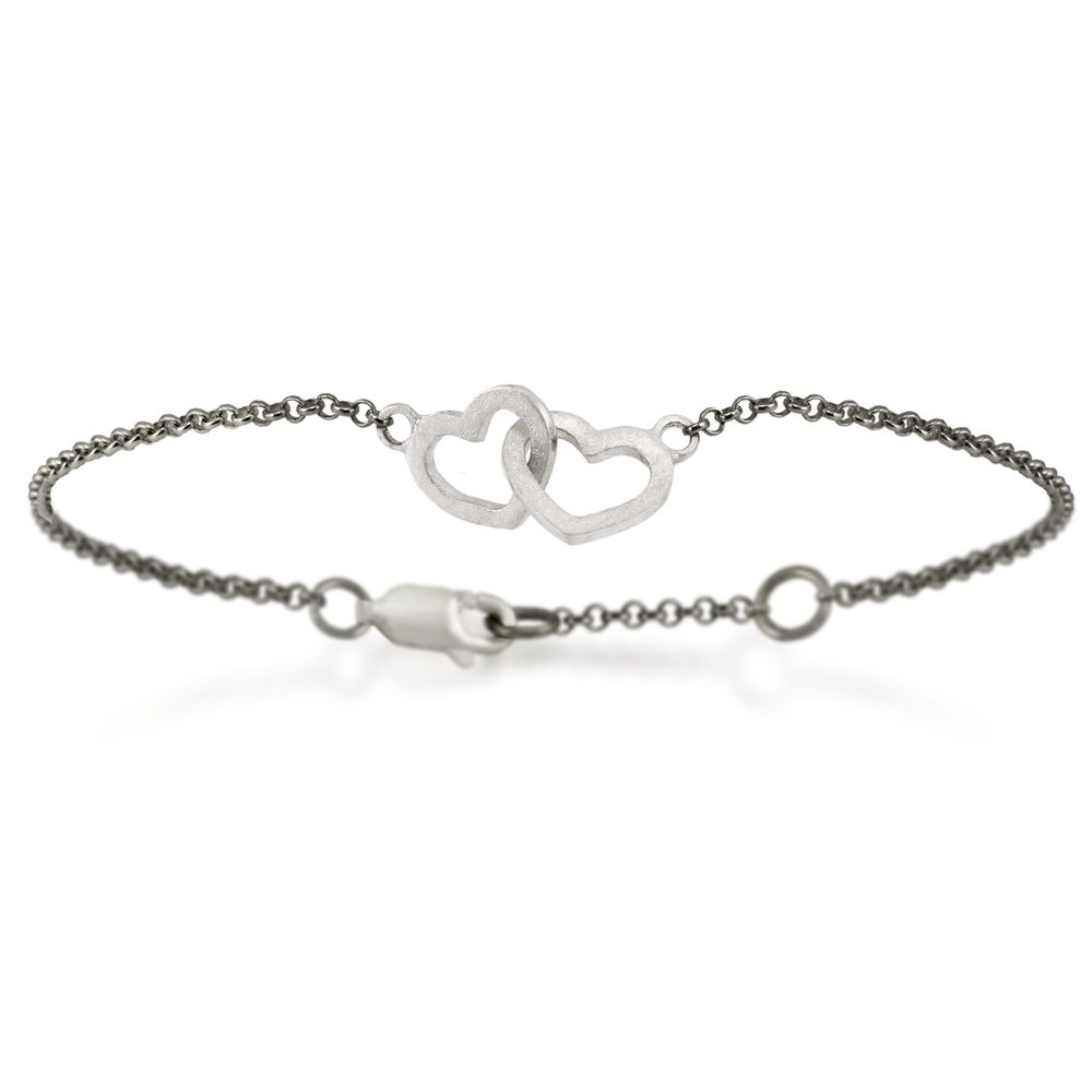 Solid Silver Linked Hearts Bracelet With Integrated Blackened Belcher Chain