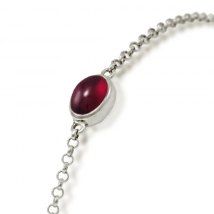Close up of Silver Garnet Bracelet with scarab backed garnet by Scarab Jewellery Studio