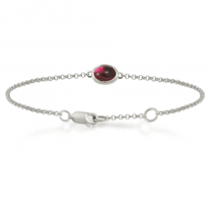 Silver Garnet Bracelet with scarab backed garnet by Scarab Jewellery Studio