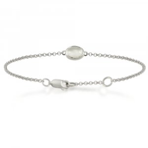Silver Moonstone Bracelet with scarab backed setting by Scarab Jewellery Studio