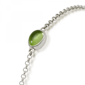 Close up of Silver Peridot Bracelet with scarab backed setting by Scarab Jewellery Studio