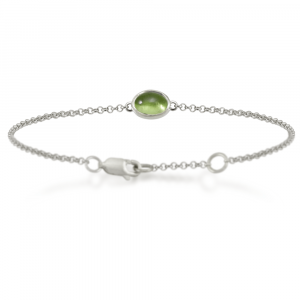 Silver Peridot Bracelet with scarab backed setting by Scarab Jewellery Studio