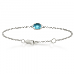 Silver Swiss Blue Topaz Bracelet with scarab backed setting by Scarab Jewellery Studio