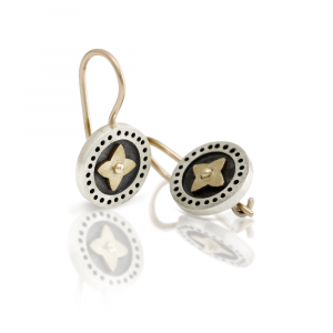 black and silver earrings with gold star detail - Scarab Jewellery Studio