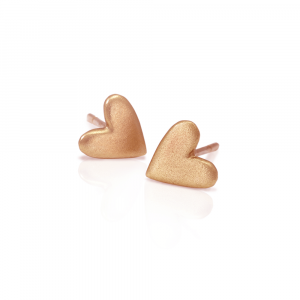 Tiny Valentine Hearts Earrings Red Gold by Scarab Jewellery Studio