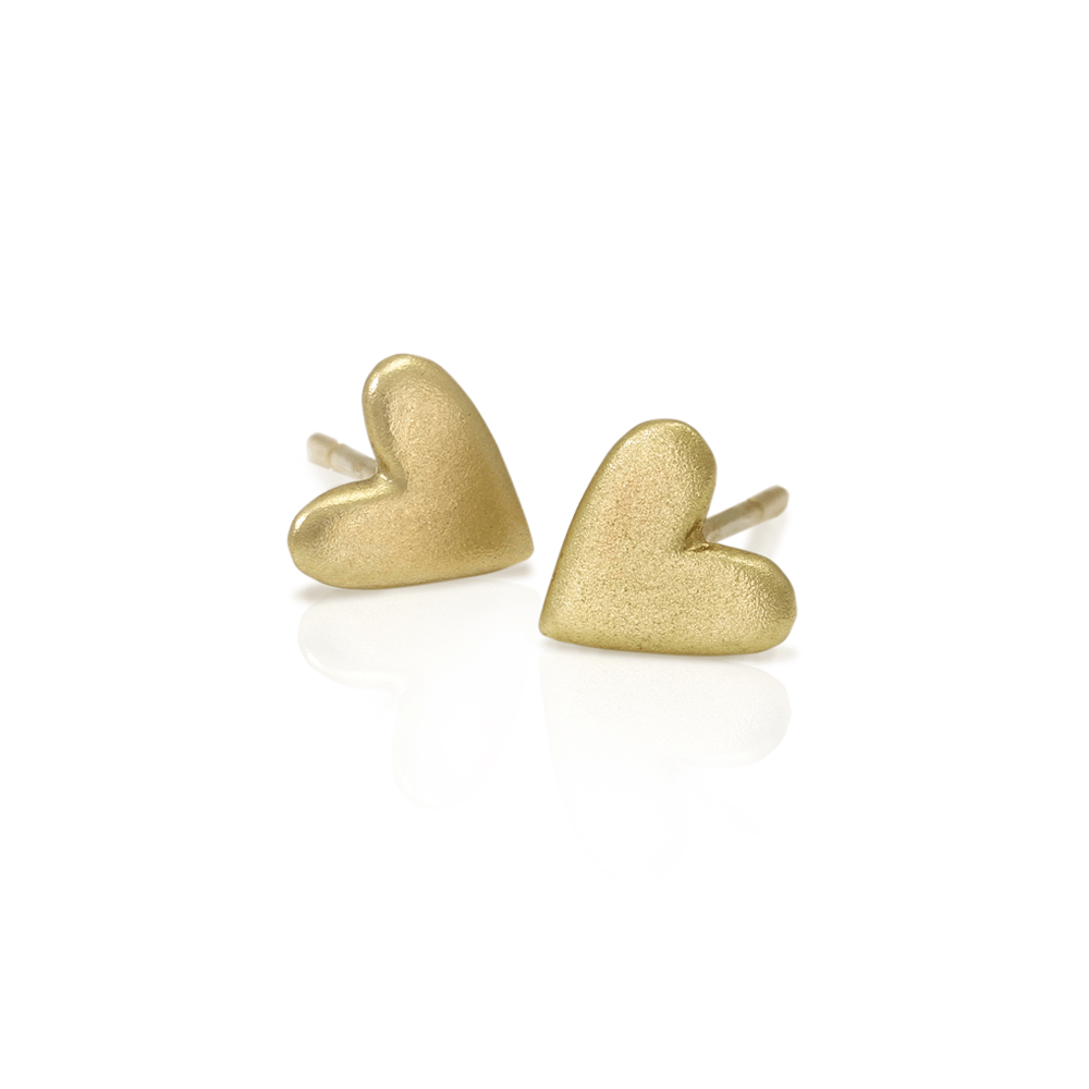Tiny Valentine Hearts Earrings Gold by Scarab Jewellery Studio