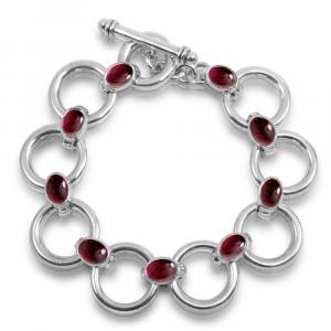 Silver bracelet garnet cabouchons by Scarab Jewellery Studio