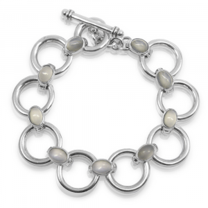 Silver circle bracelet moonstones with oval moonstone cabouchons B14