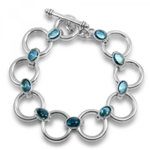 Silver circle bracelet or Swiss Blue topaz bracelet by Scarab Jewellery Studio
