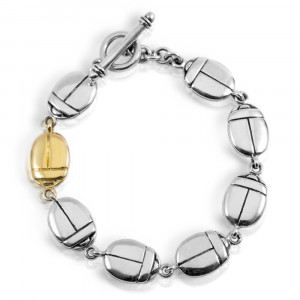 Stylised Egyptian Scarab Bracelet - Silver and gold bracelet with flat double-sided scarabs and fob by Scarab Jewellery Studio