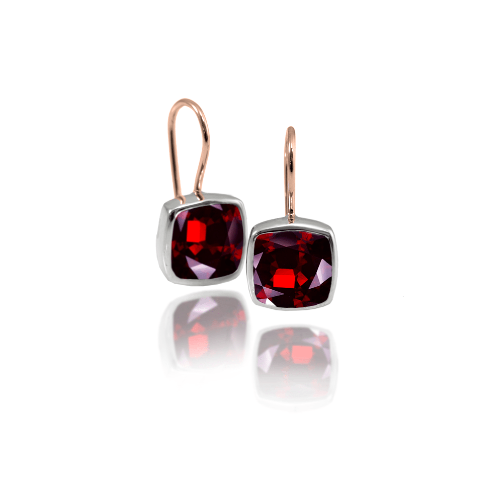 Silver garnet Earrings with cushion cut garnet by Scarab Jewellery Studio