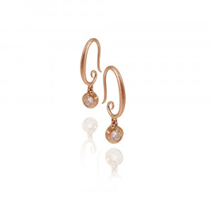 spiral hoop diamond drop earrings by Scarab Jeweller Studio