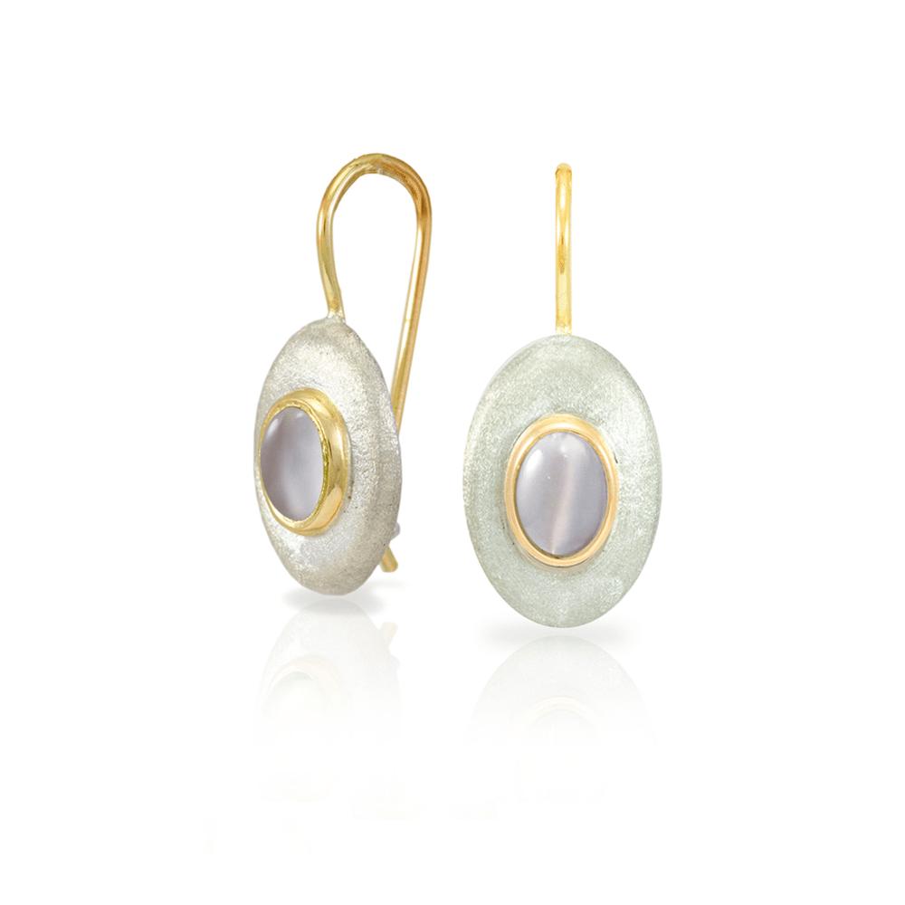 Surfboard earrings Moonstone by Scarab Jewellery Studio