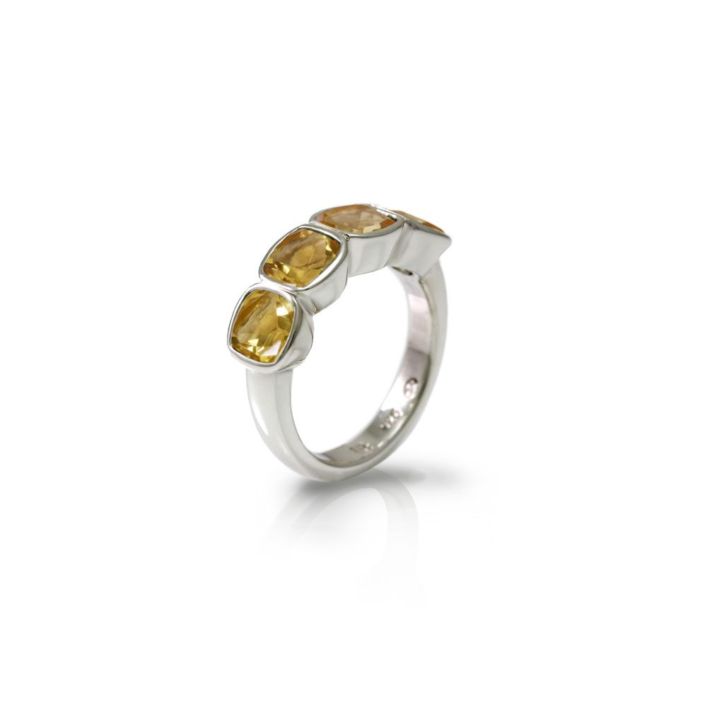 Four stone Citrine Silver Ring by Scarab Jewellery Studio