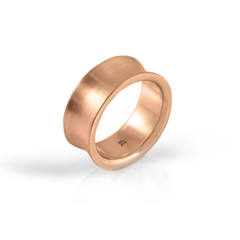 Red Gold Concave Band by Scarab Jewellery Studio