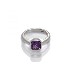 925 silver amethyst ring cushion cut by Scarab Jewellery Studio