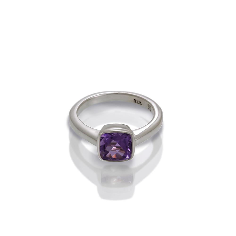 925 Silver Amethyst Ring Cushion Cut