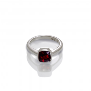 925 silver garnet ring cushion cut by Scarab Jewellery Studio