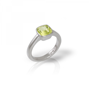 925 silver lemon quartz ring cushion cut by Scarab Jewellery Studio