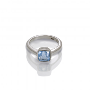 925 silver Blue Topaz ring cushion cut by Scarab Jewellery Studio