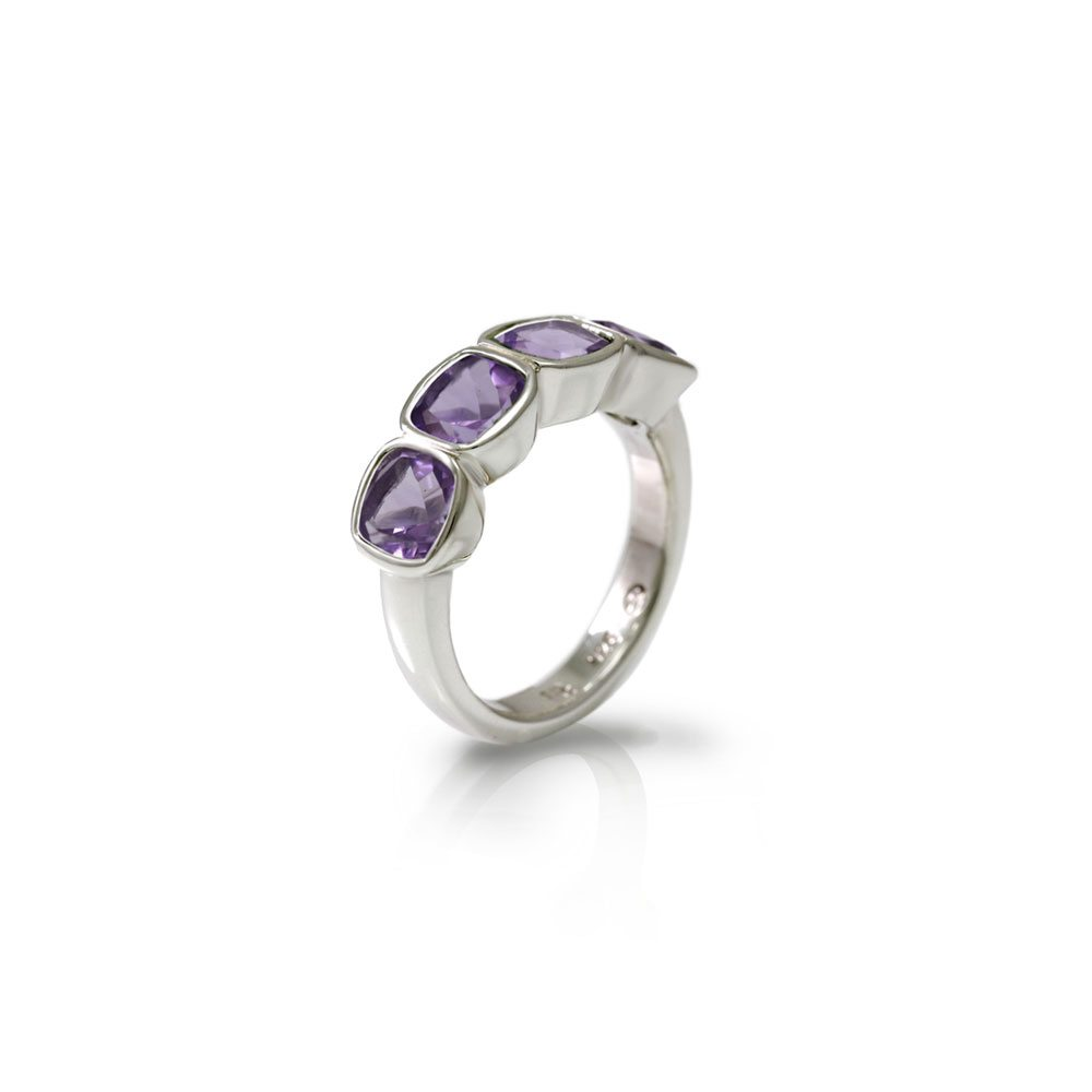 Four Stone Amethyst Silver Ring by Scarab Jewellery Studio