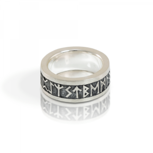 Rune Band in solid silver with oxidized relief - alternative view - by Scarab Jewellery Studio