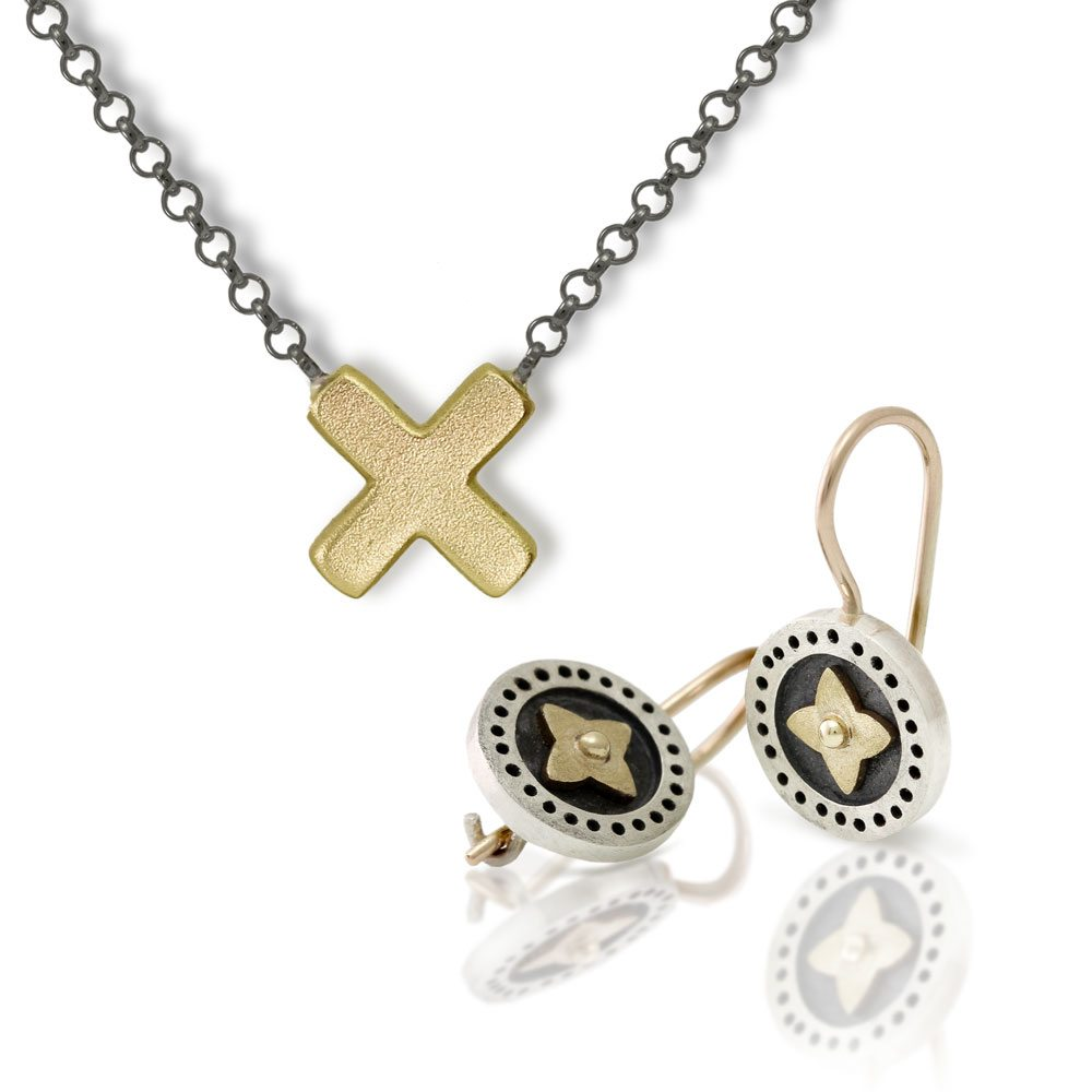 Earrings Star Yellow Gold Cross Pendant bundle by Scarab Jewellery Studio