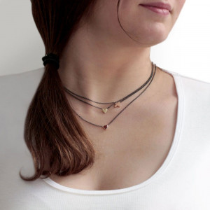 Gold Cross Necklace and Gold Heart Necklace with blackened silver integrated chain by Scarab Jewellery Studio on model