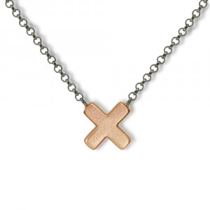 Rose Gold Cross Necklace with blackened silver integrated chain by Scarab Jewellery Studio - Jewellery South Africa