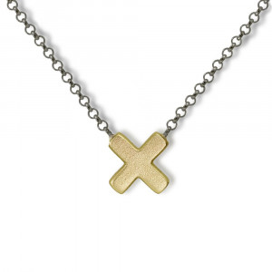Yellow Gold Cross Necklace with blackened silver integrated chain by Scarab Jewellery Studio - Jewellery South Africa