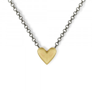 Yellow Gold Heart Necklace with integrated blackened silver chain by Scarab Jewellery Studio - Jewellery South Africa