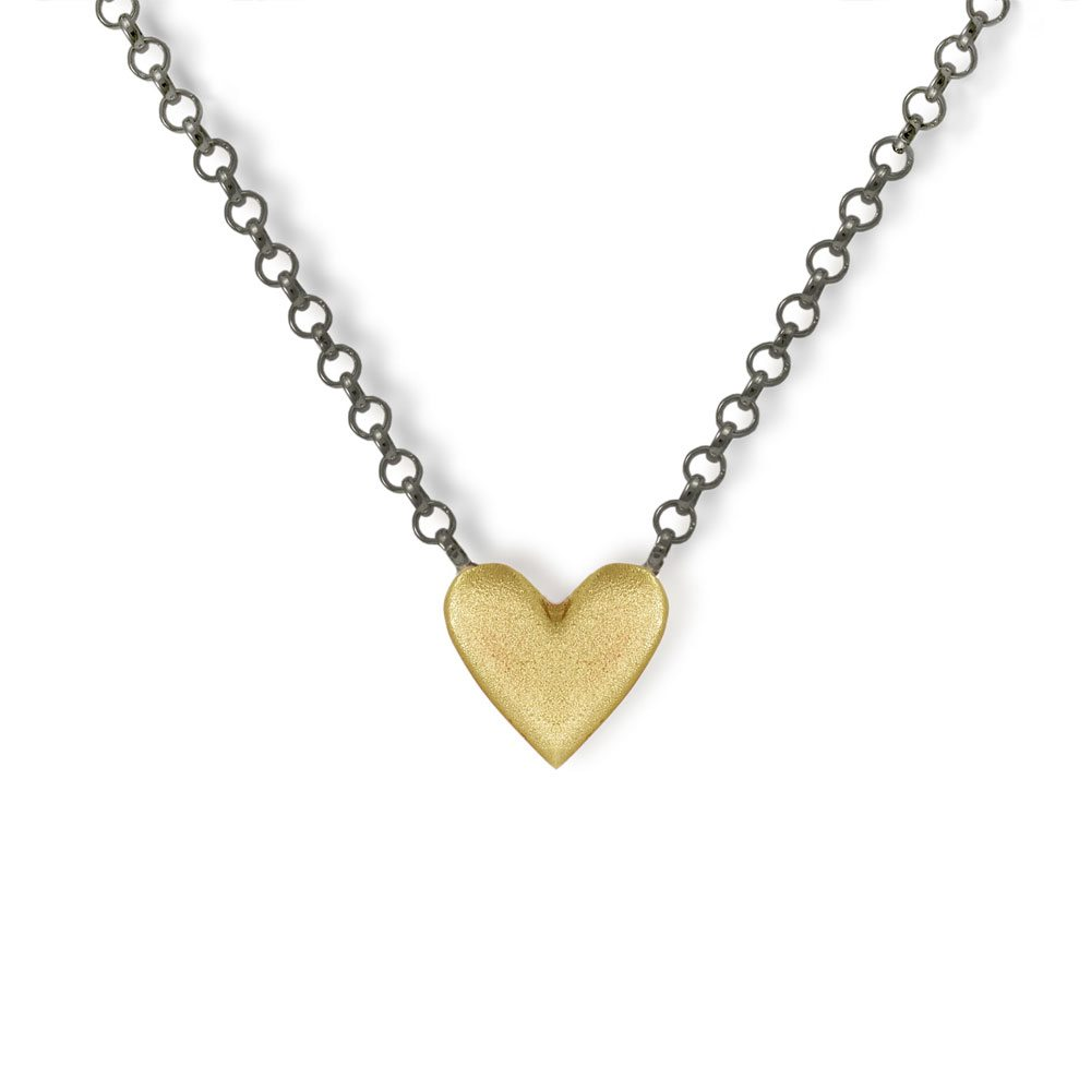 Yellow gold heart necklace scarab jewellery online shop yellow gold heart necklace with integrated blackened silver chain by scarab jewellery studio jewellery south aloadofball Gallery