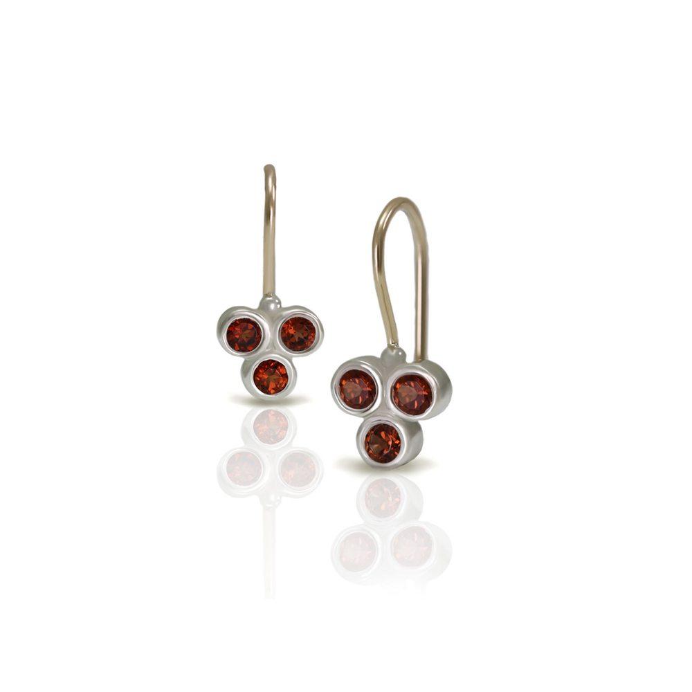 Three Stone Grape Earrings Garnet by Scarab Jewellery Studio