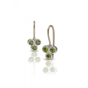 Three Stone Grape Earrings Peridot by Scarab Jewellery Studio