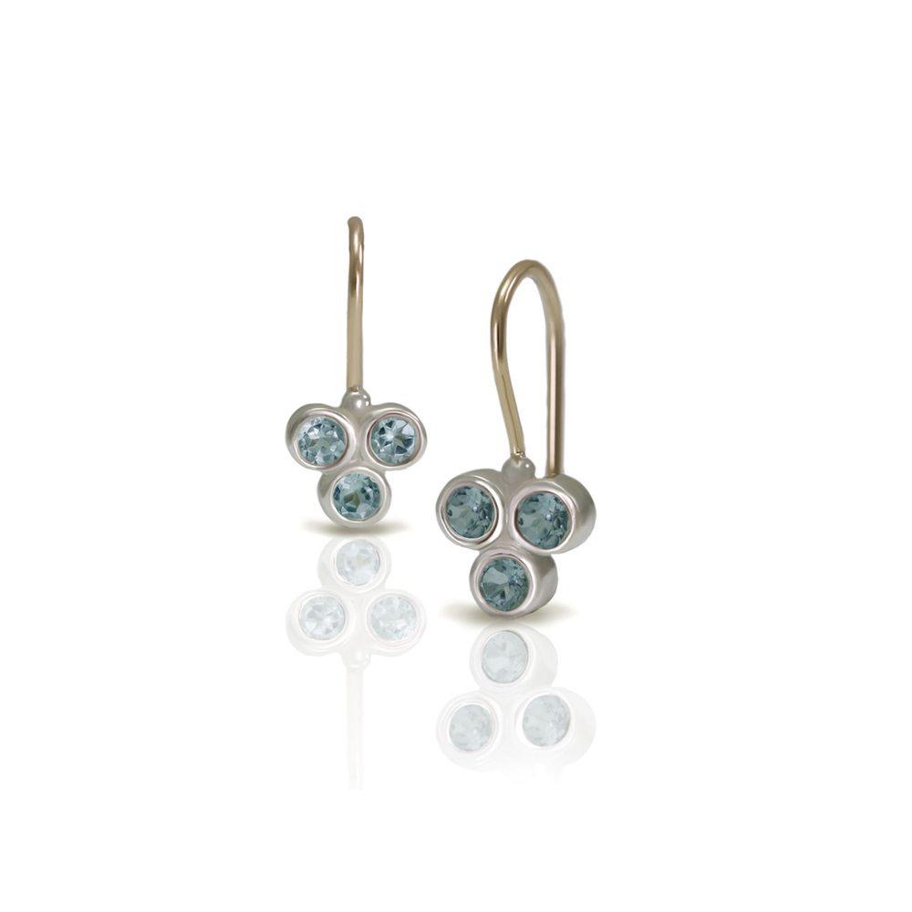 Three Stone Grape Earrings Blue Topaz by Scarab Jewellery Studio