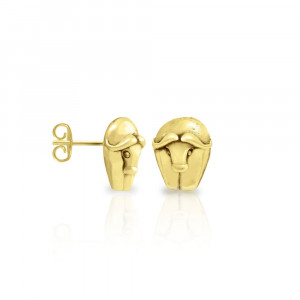 Gold African Buffalo Earrings by Scarab Jewellery Studio