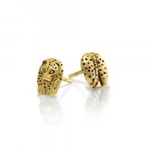 Gold African Leopard Earrings -African Animal Jewelry by Scarab Jewellery Studio