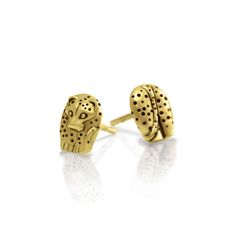 Gold African Leopard Earrings -African Animal Jewelry by Scarab Jewellery Studio