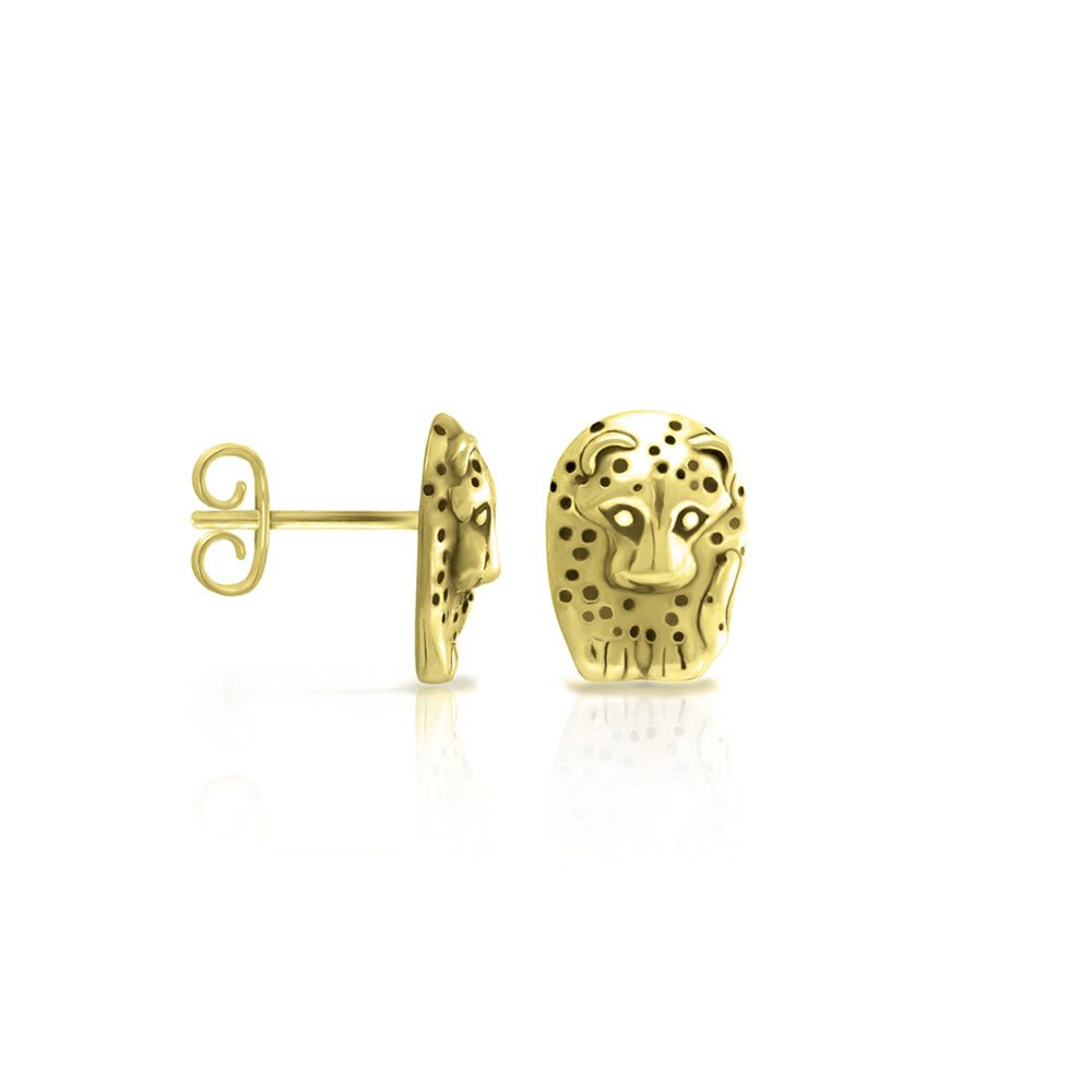 Gold African Leopard Earrings by Scarab Jewellery Studio