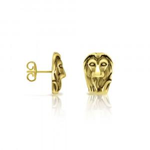 Gold African Lion Earrings by Scarab Jewellery Studio