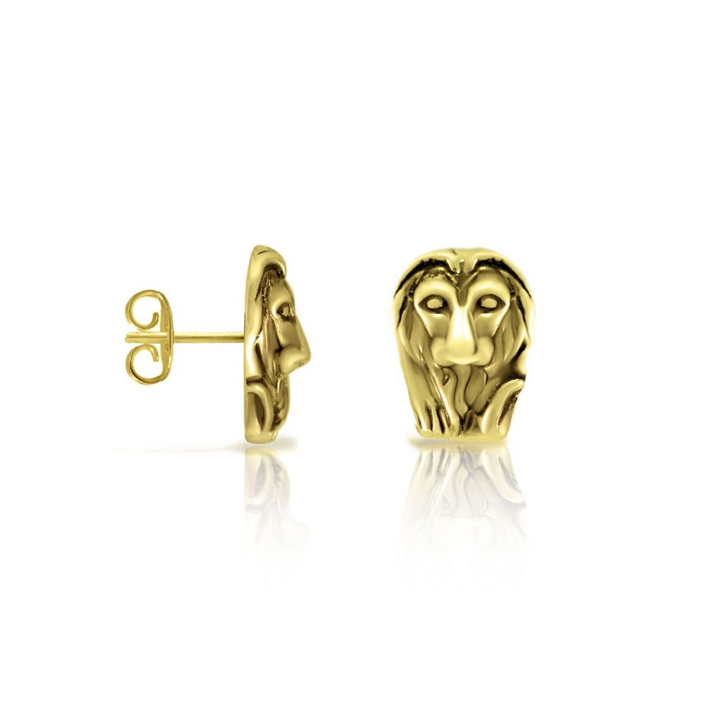 Gold African Lion Earrings by Scarab Jewellery Studio