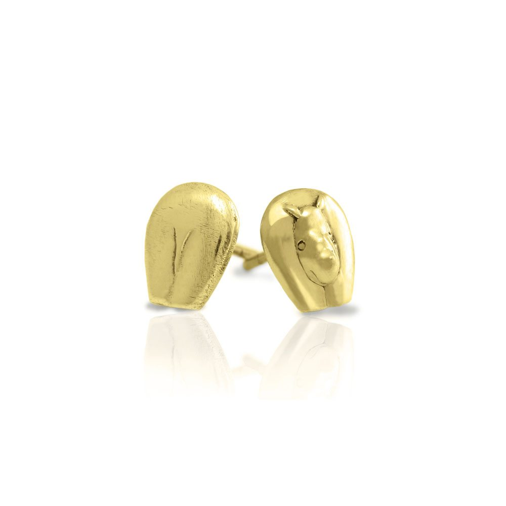 Gold African Rhino Earrings by Scarab Jewellery Studio