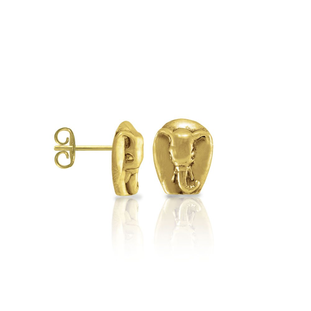 Gold African Elephant Earrings by Scarab Jewellery Studio